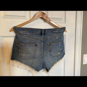 Free People Shorts - FREE PEOPLE - lace trim shorts